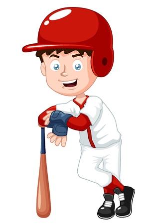 strong base: illustrazione del giocatore di baseball ragazzo Vettoriali