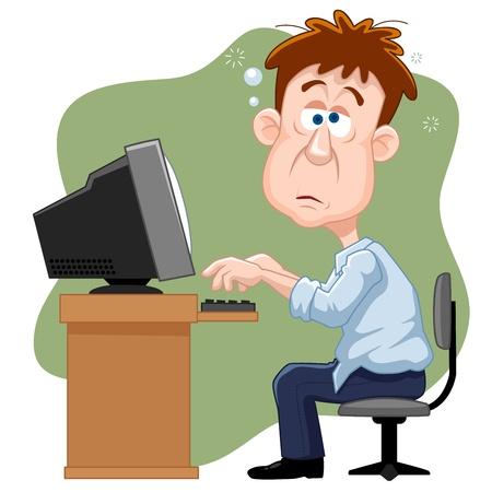 Illustration der Business-Mann hart arbeiten