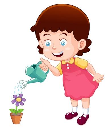 regar las plantas: ilustración de una linda niña pequeña flor de riego