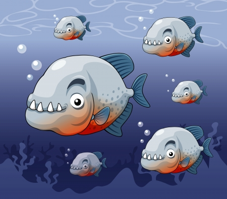 pirana: illustration of piranha in river  Illustration