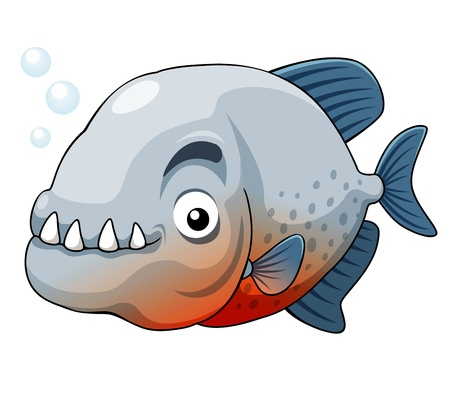taxidermy: illustration of piranha fish vector
