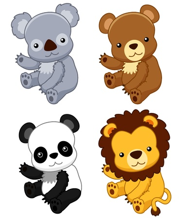 childishness: illustration of cute animal set