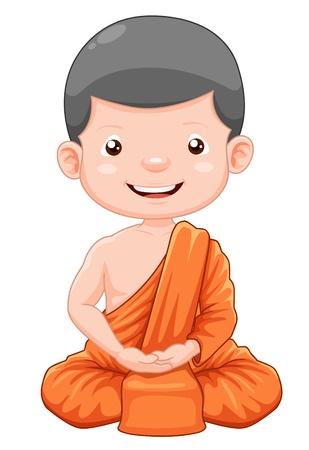 moine: illustration de dessin animé mignon jeune moine
