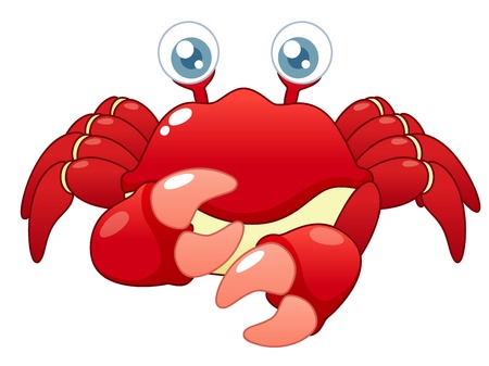 sea creatures:  illustration of Cartoon crab