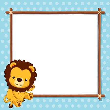 childish: Иллюстрация Лев с белой пустой