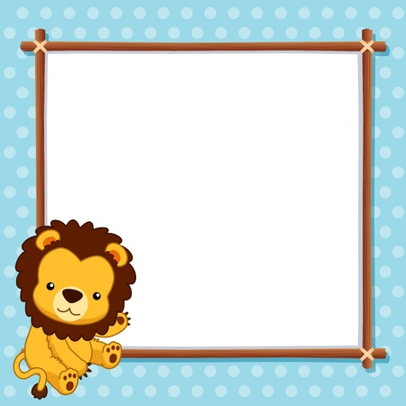 illustration of Lion with white blank Vector