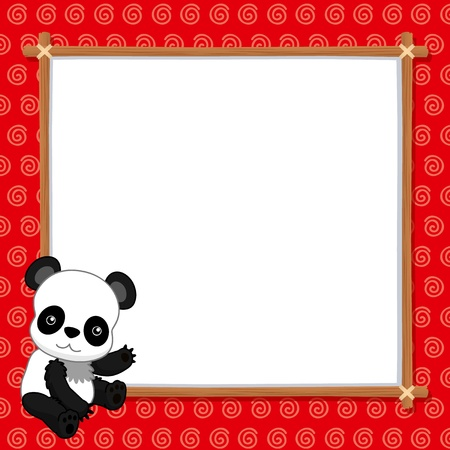 illustration of Panda with white blank Vector