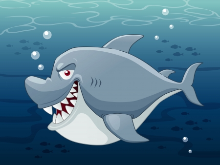 Illustration of Cartoon Shark Vector