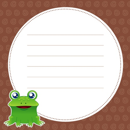 creep: illustration of green frog with white blank Illustration