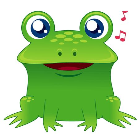illustration of green frog singing Vector
