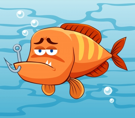 illustration of fish with Fishing Hook Vector