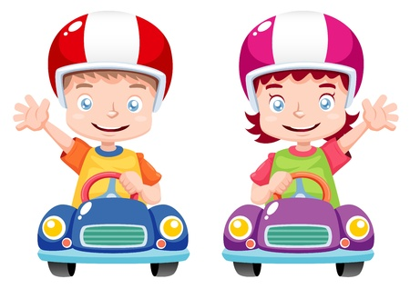 illustration of Kids raced on toy car Vector