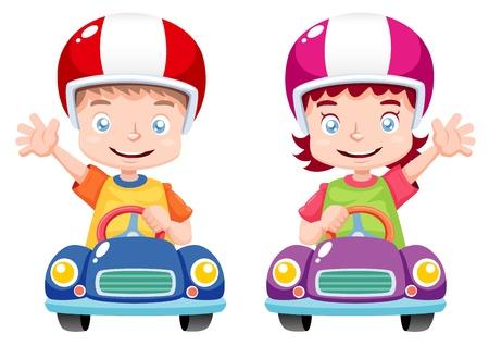carritos de juguete: ilustraci�n de ni�os corriendo en el coche de juguete