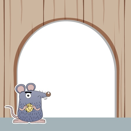 mouse hole: illustration of rat with white blank Illustration