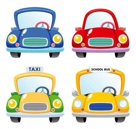 autom�vil caricatura: Ilustraci�n de un conjunto de coches Vectores