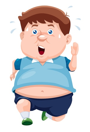 fat person: illustration of fat man Jogging Illustration