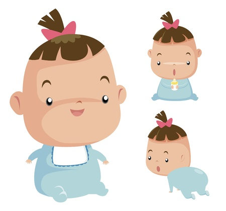 teteros: Ilustración del bebé lindo