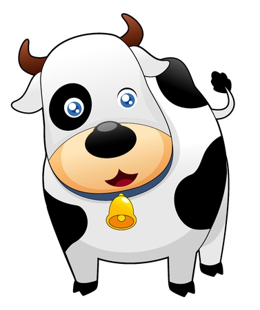 domestic cattle: Cute cow  on white background Illustration