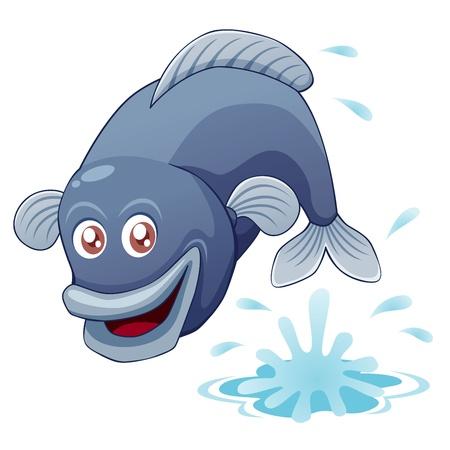 poisson rigolo: illustration de saut de poisson Illustration