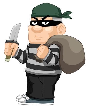 illustration of cartoon thief