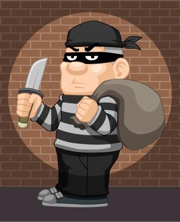 swindled: illustration of cartoon thief