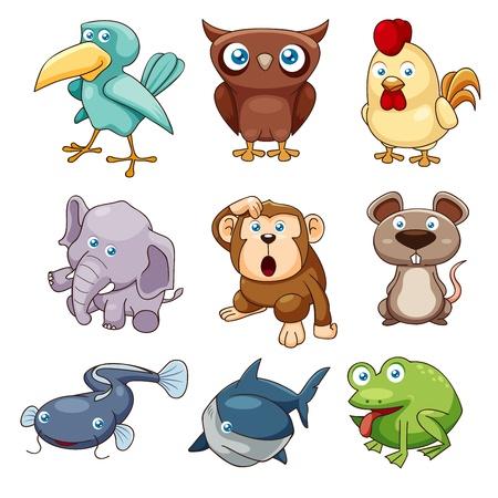 rana caricatura: ilustración vectorial de animales establecido Vectores
