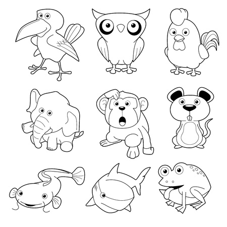 outline fish: illustration of animals set Vector outline