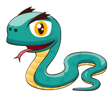 forked tongue: illustration of Cartoon snake