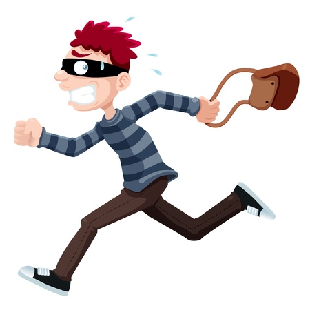 robbery: illustration of Thief running with bag Illustration