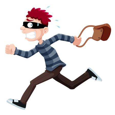 burglar: illustrazione di Ladro in esecuzione con il sacchetto