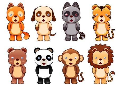cubs: illustration of cute animal set vector Illustration