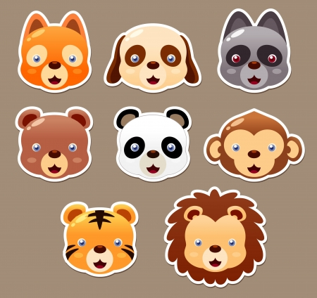 illustration of animal face set vector