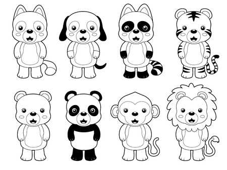 illustration of cute animal set outline vector