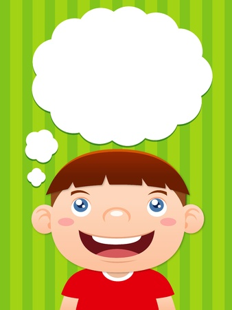 clever: Cartoon boy thinking with white bubble for text