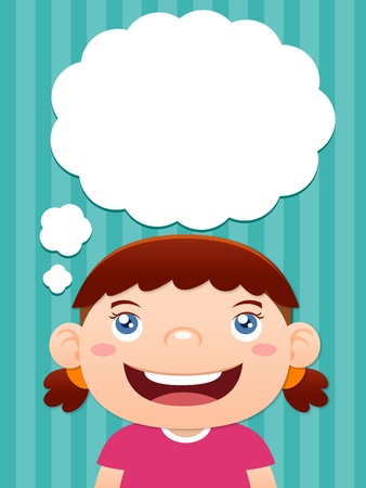 young girl: Cartoon girl thinking with white bubble for text