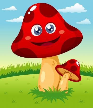 fungi: illustration of Happy cartoon red mushroom vector Illustration