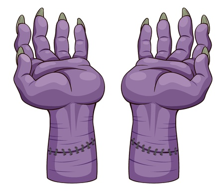 cartoon frankenstein: illustration of hand zombie  Vector Illustration