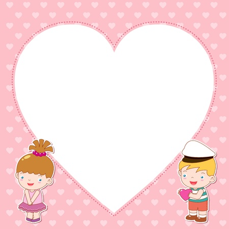illustration of boy and girl with white blank Vector
