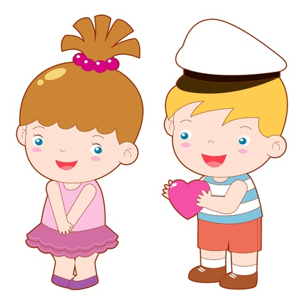 girlfriends: illustration of boy and girl vector