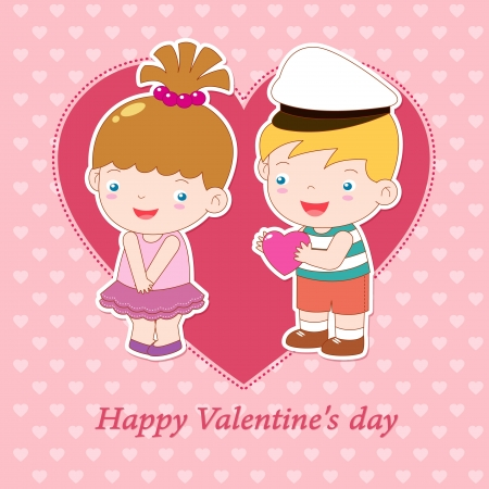 teenagers laughing: illustration of boy and girl on heart background Valentine day concept