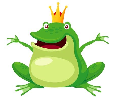 행복 개구리 왕자 벡터 그림 일러스트