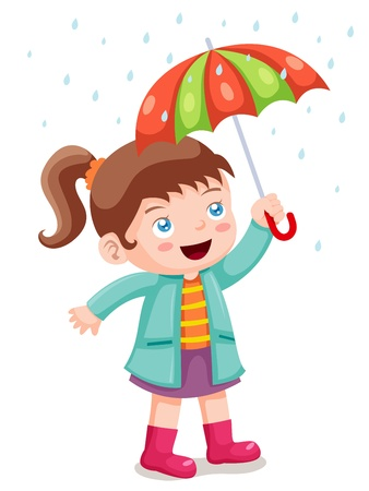 rain boots: illustration of Girl in raining with umbrella Illustration