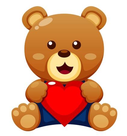oso blanco: Ilustración del oso de peluche con corazón de vectores
