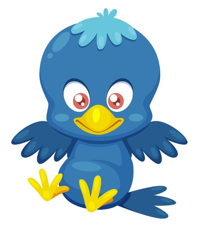 Illustration of blue bird cartoon character Stock Vector - 15904571