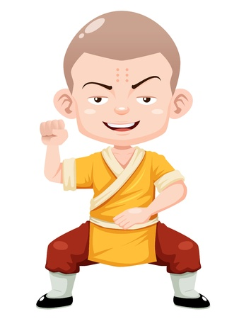 warrior pose: illustration of Cartoon Shaolin boy vector Illustration