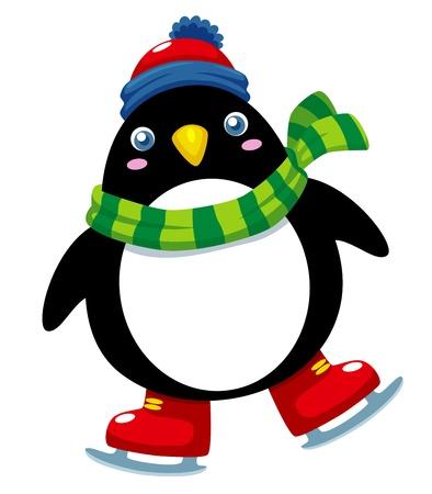 patinar: Ilustración del pingüino lindo patines de hielo