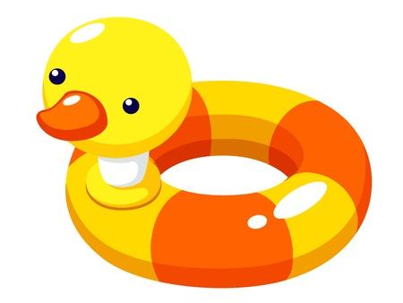 pato de hule: Ilustración del vector de natación pato anillo