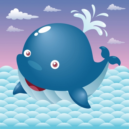 whale underwater: Illustration of a cute cartoon whale