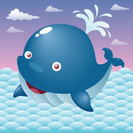 Illustration von einem niedlichen Cartoon whale