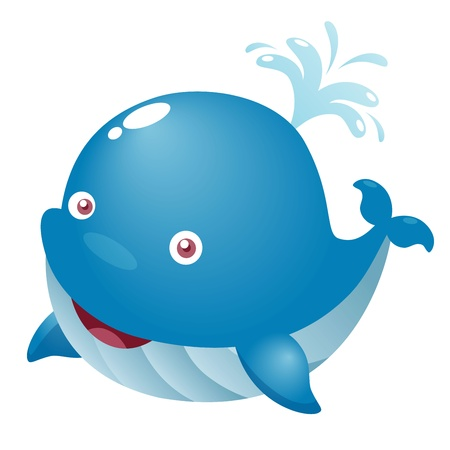 ballena azul: Ilustraci�n de una ballena linda de la historieta